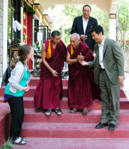 Our 2008 - 2014 Director Linda meets Lama Zopa Rinpoche and the Kalon Tripa (Tibetan Prime Minister)