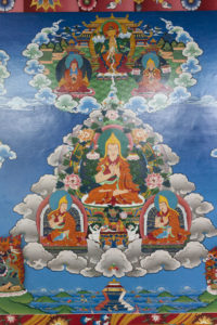 Lama Tsong Khapa Guru Yoga mural, with his two main disciples at the bottom and Buddha Maitreya on top.