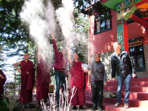 Losar - Traditional throwing of tsampa for auspiciousness & much laughter