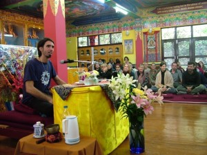 Osel Hita staying at Tushita with his pilgrimage group and giving a public talk, April 15th