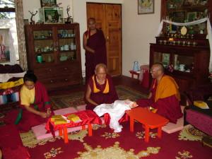 Lama Zopa Rinpoche, Dagri Rinpoche & Khadro la in Lama Yeshe's Room before Dagri Rinpoche starts 3-day teaching, June 18th