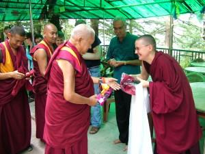 Lama Zopa Rinpoche with Geshe Kelsang Wangmo