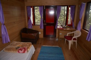 It's all wood inside of the new retreat huts!