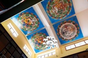 Mandalas on the ceiling of Tushita's Main Gompa