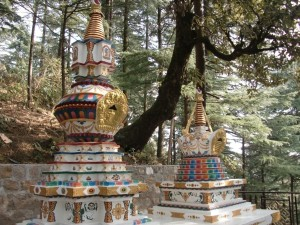 The new stupas for Geshe Chockley la and Geshe Tsering la