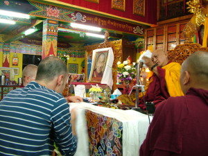 Tushita making mandala offering