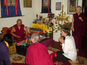 Jhado Rinpoche meeting with Vajrasattva retreat leader Richard and the retreatants.