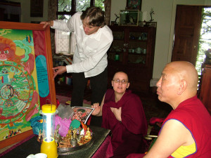 Jhado Rinpoche giving advice on the Wheel of Life and the verses describing the path. Geshema Kelsang Wangmo, who interpreted during the Vajrasattva initiation, was also indispensable in collecting, translating and clarifying Rinpoche's advice.