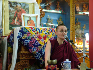 Geshema Kelsang Wangmo giving a Dharma Talk on Chokhor Duchen, July 20th