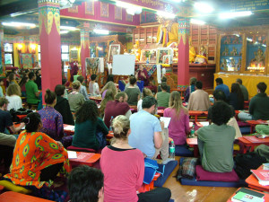 Despite of the pouring monsoon rains our gompa was packed with 83 introductory course students and more than 40 visitors.