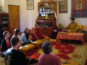 Rinpoche giving an inspirational teaching to our Vajrasattva retreatants.