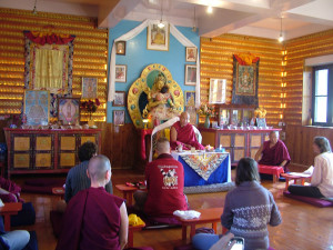 Jhado Rinpoche giving teaching to the Vajrasattva retreatants in the Vajrasattva gompa, Oct 8th.