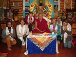 Jhado Rinpoche with Vajrasattva group retreat leader Richard and retreatants.