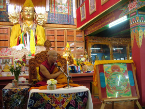 Jhado Rinpoche giving teachings on the Wheel of Life; In the last few years, Rinpoche closely supervised an accurate creation of the painting.