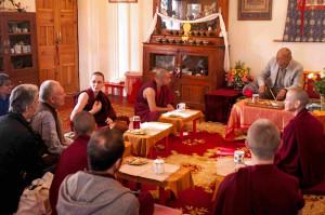 Tea with Rinpoche in Lama Yeshe's Room: Rinpoche's attendants Ven NorbuTsering & Stefan, interpreter Geshema Kelsang Wangmo, teachers Ven Amy Miller & Jimi Neal and Tushita staff Ven Kunphen, Kiko & Minakshi.
