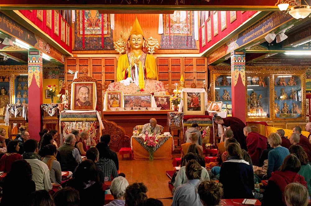 Main gompa, Tushita Meditation Center, Dharamkot, Dharamsala, Himachal Pradesh