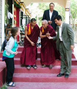 Our 2008 - 2014 Director Linda meets Lama Zopa Rinpoche and the Kalon Tripa (Tibetan Prime Minister)